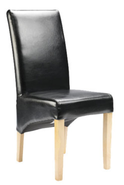 Straight Back Bonded Leather Chair Black Antique Legs
