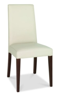 Akita Taper Back Ivory Leather Dining Chair