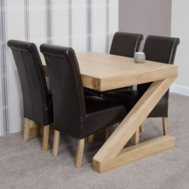 Z Oak Dining Table Set with 4 Chairs