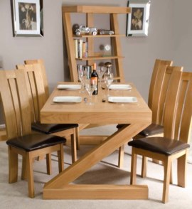 Z Oak Dining Table Set with 6 Chairs