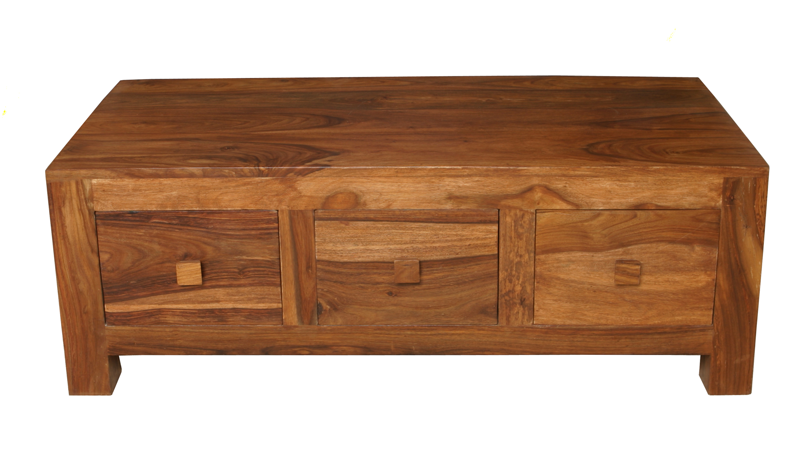 Cube petite mango 3 drawer coffee table home max furniture for Petites tables pliantes