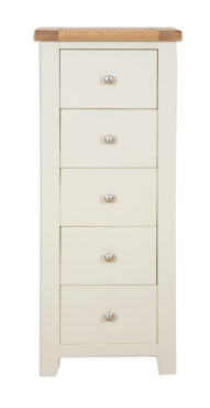 Melbourne French Grey 5 Drawer Tall Chest