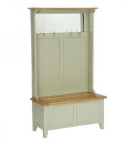 Vancouver French Grey Hall Tidy Storage Bench with Coat Rack & Mirror